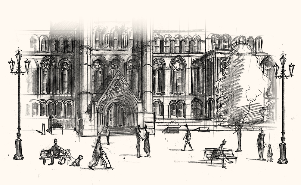 Drawing of Manchester Town Hall final