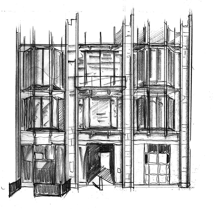 Drawing of Modern Building Friers square