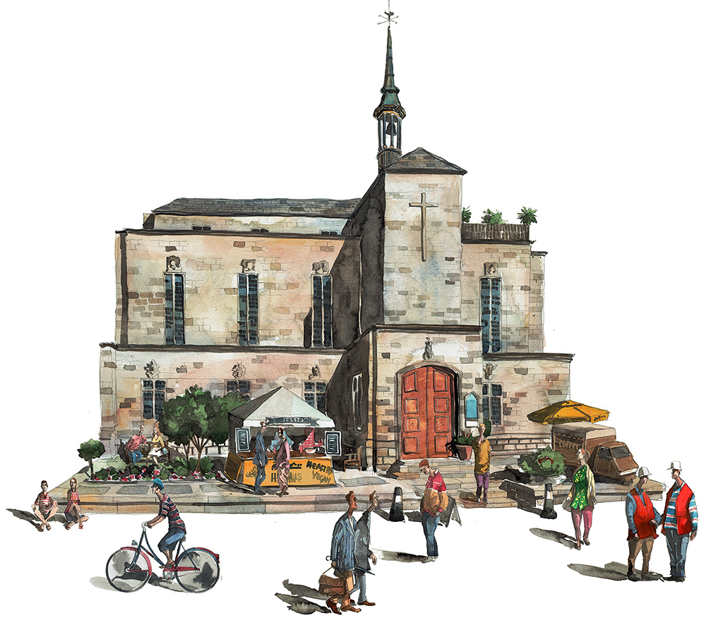 Painting of Friers Square Church London