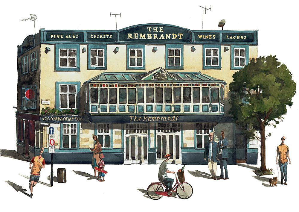 Painting of Manchester Rembrandt Pub