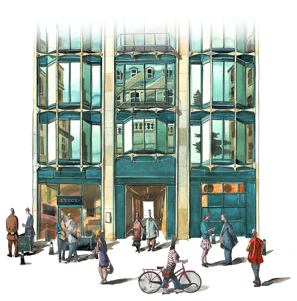 Painting of Modern Building Friers square