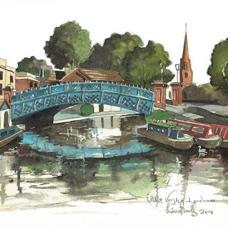 A painting of Little Venice Maida Vale, London