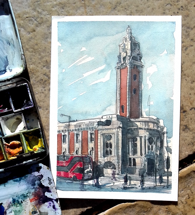 painting of Brixton Town Hall
