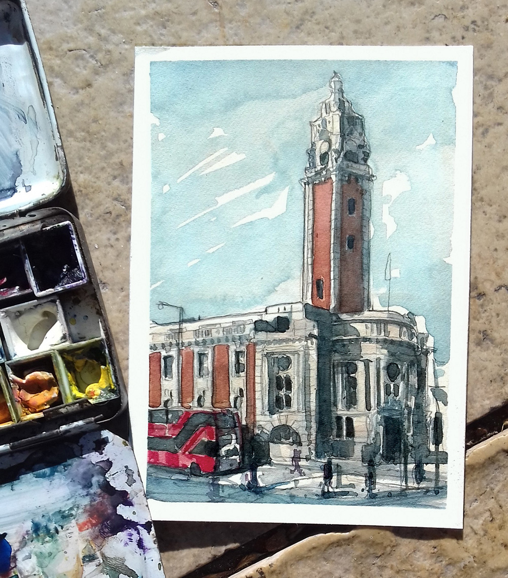 Brixton Town hall painting Postcard