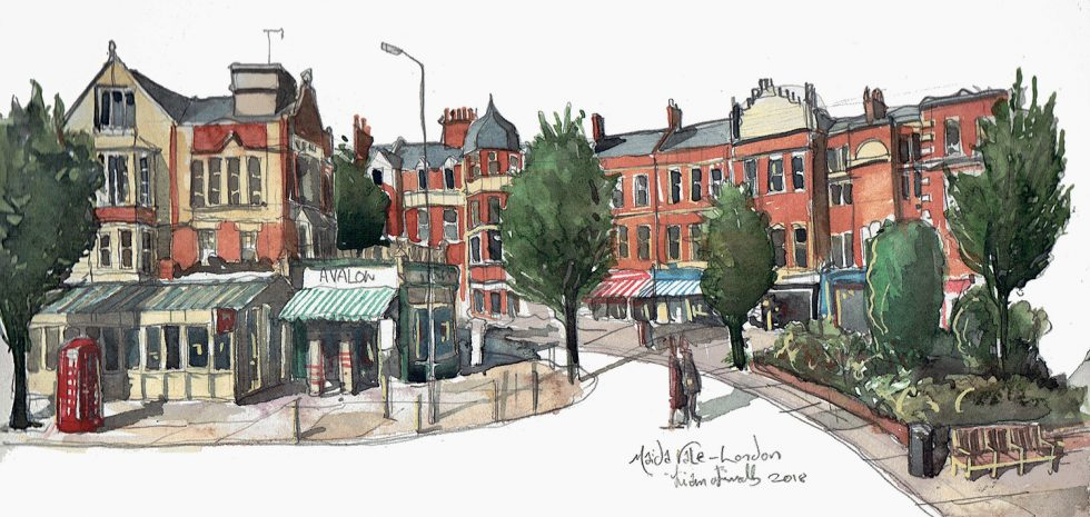 painting of Lauderdale Road, and featuring Le Cochonnet restaurant and Avalon Flowers.