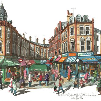 a painting of Electric Avenue Brixton Market