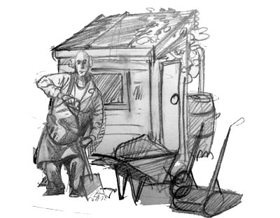 drawing of a man in allotment shed