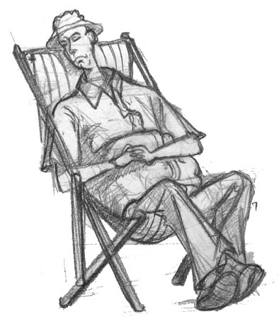 drawing of man sleeping at an allotment