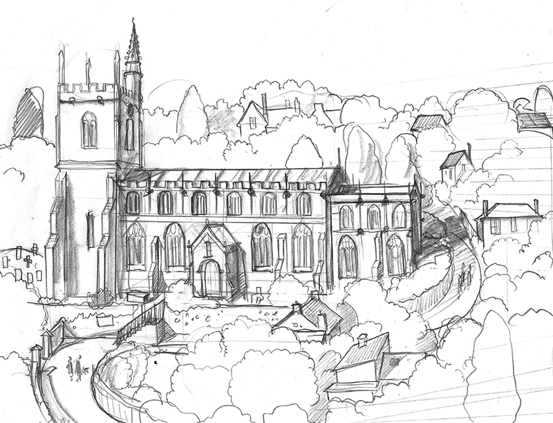 A drawing of Pilton Church Somerset