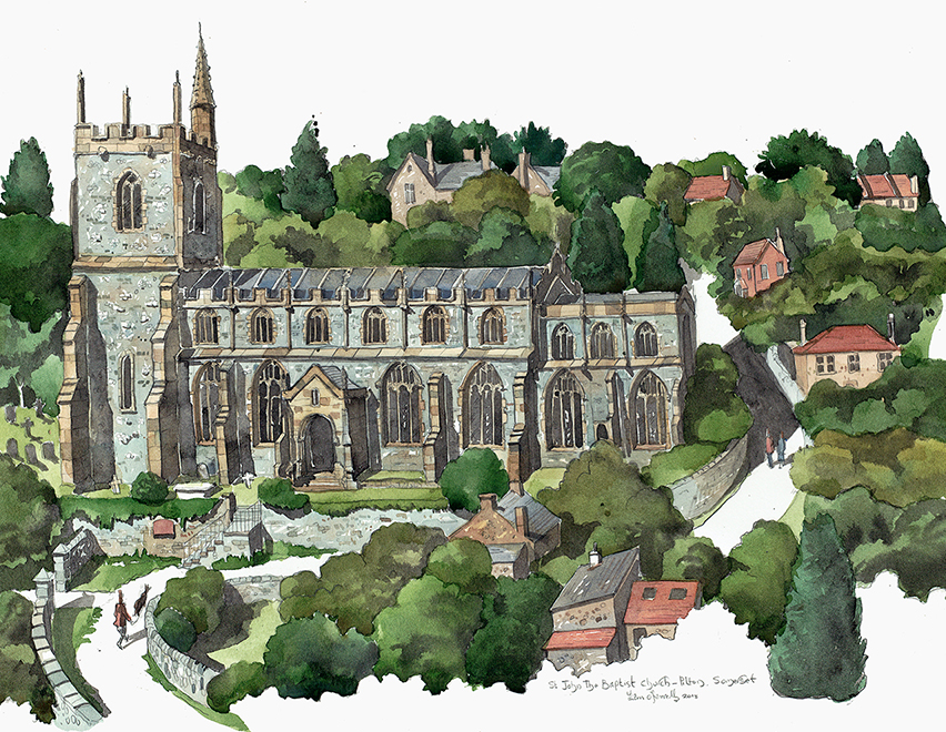 A painting of Pilton Church Somerset