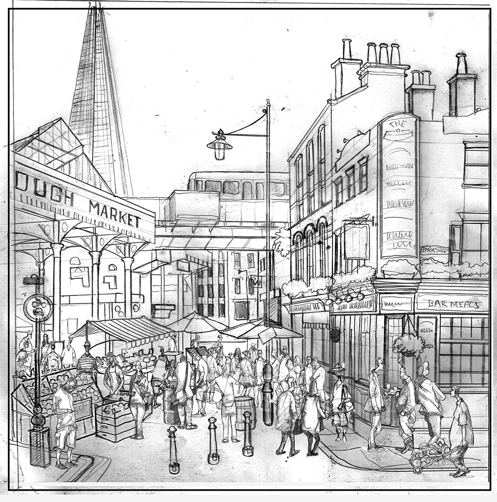 Drawing of Borough Market and Market Porter