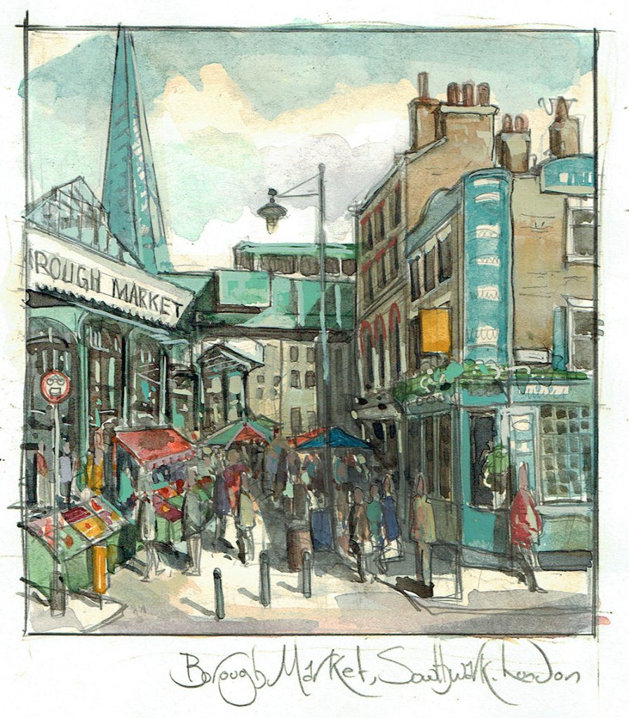 Painting of Borough Market and Market Porter