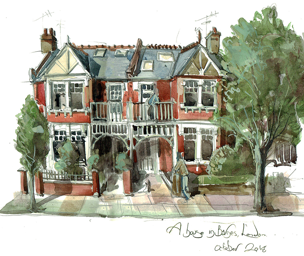 A painting of a house in Barnes London