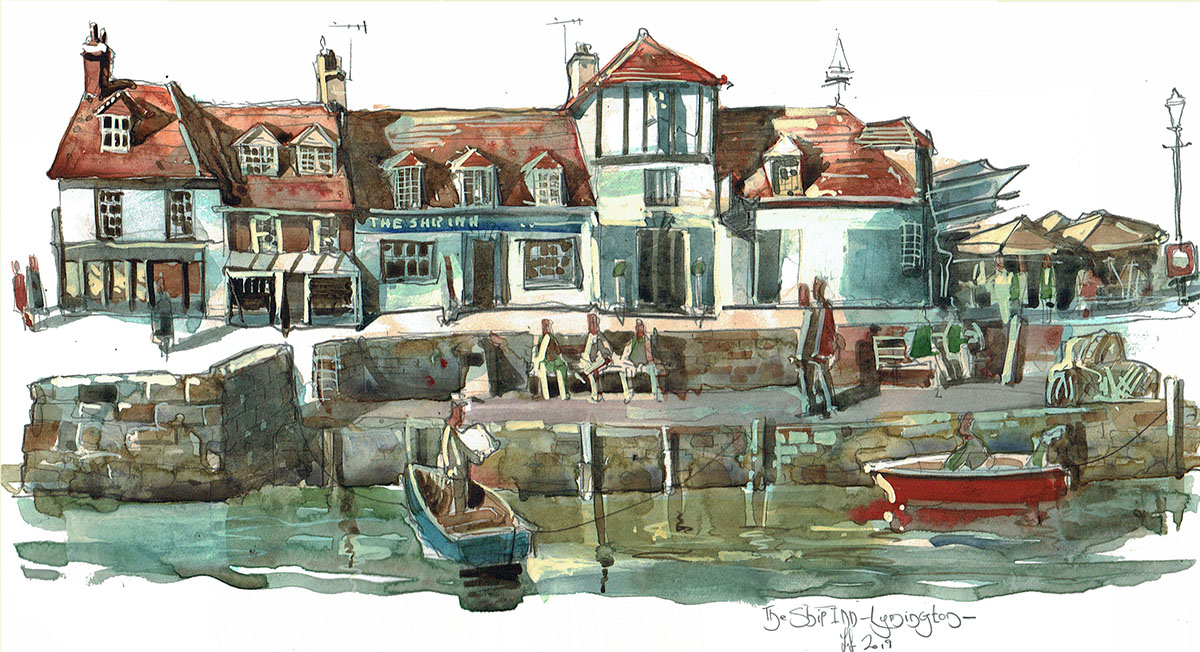 Painting of the Ship Inn Lymington