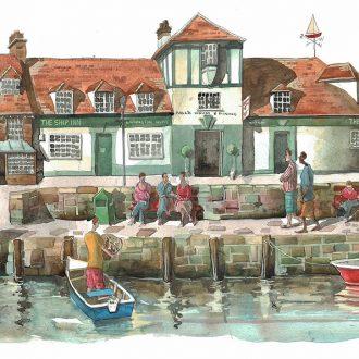 A painting of The Ship Inn Lymington