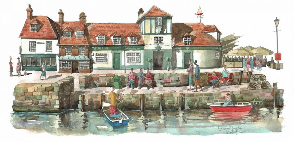 A painting of The Ship Inn Lymington