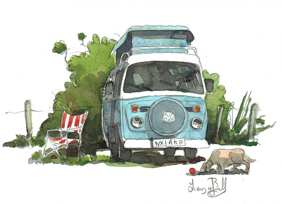 A painting of a Vintage Volkswagen Bus