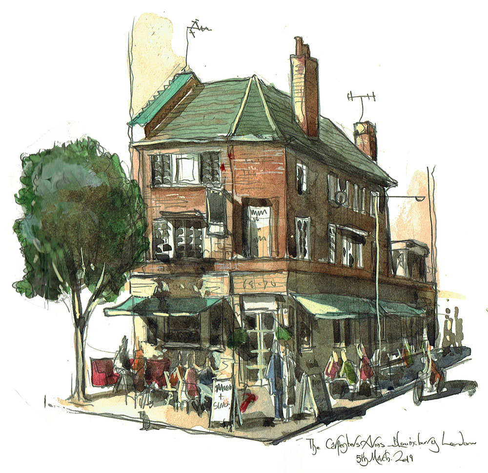 Watercolour Painting of the Carpenters Arms London