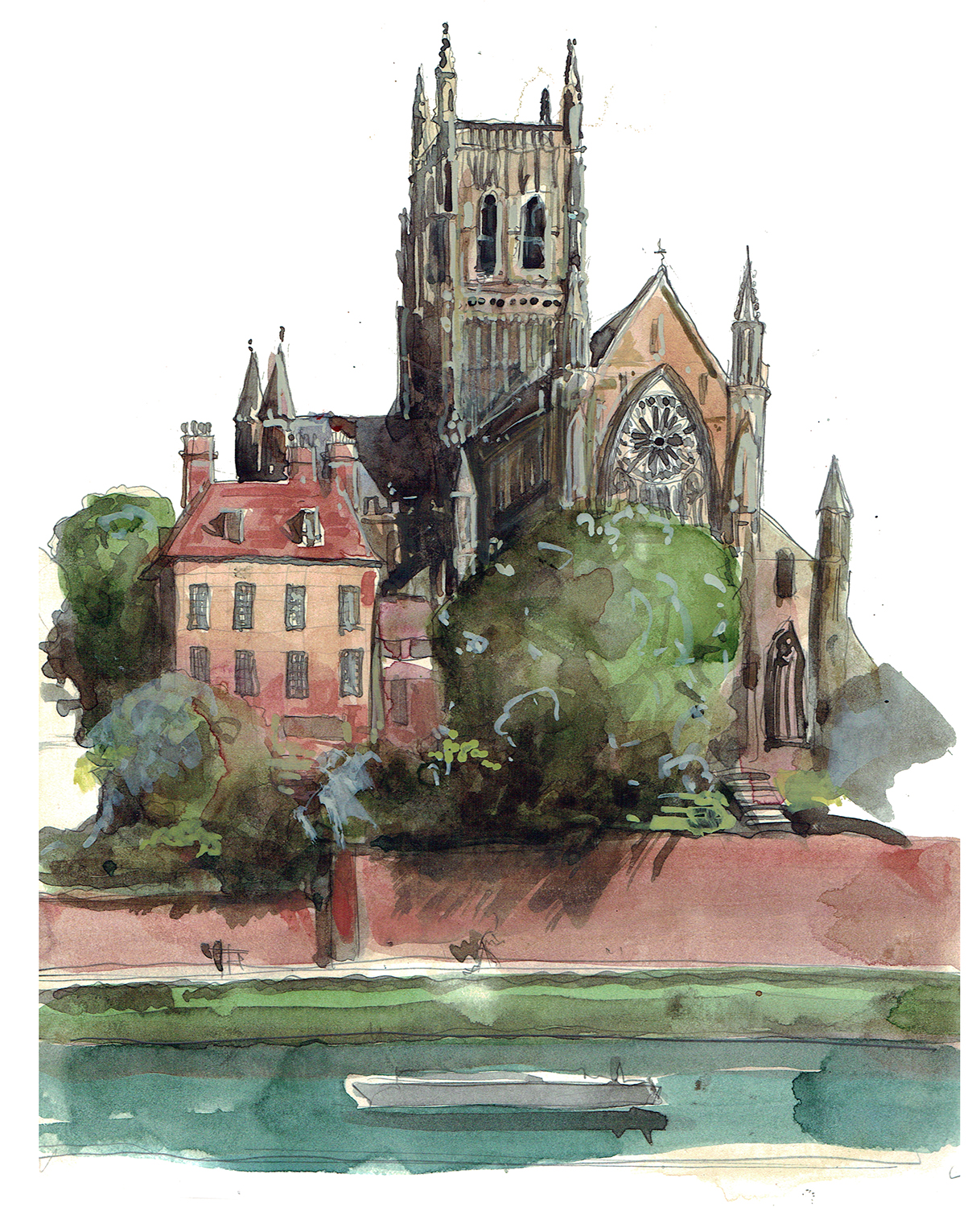 A painting of Worcester Cathedral