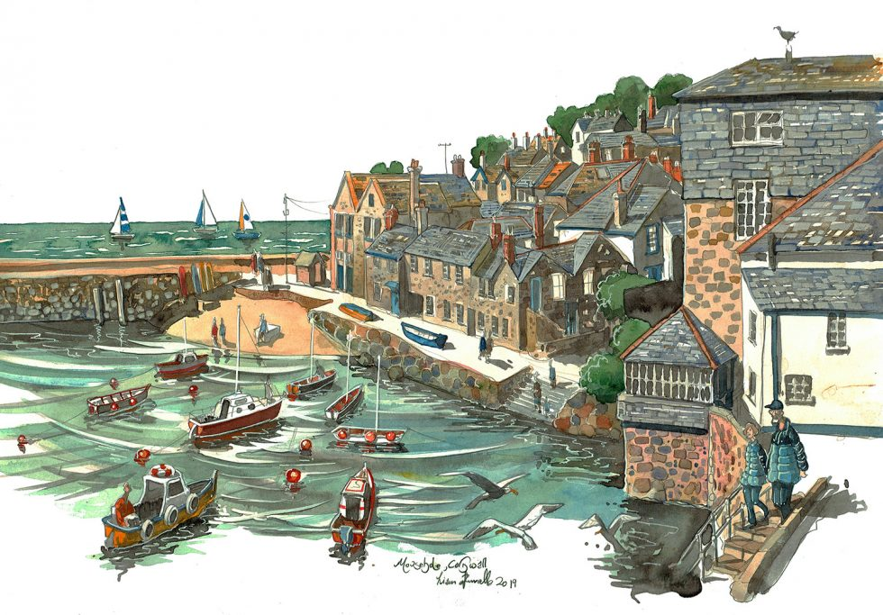 A painting of Mousehole Cornwall