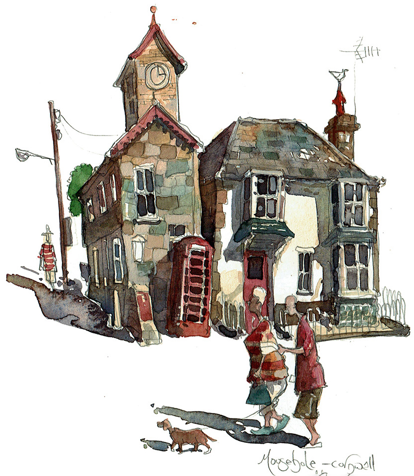 A painting of a telephone box in Mousehole Cornwall