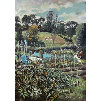 Oil painting of an allotment