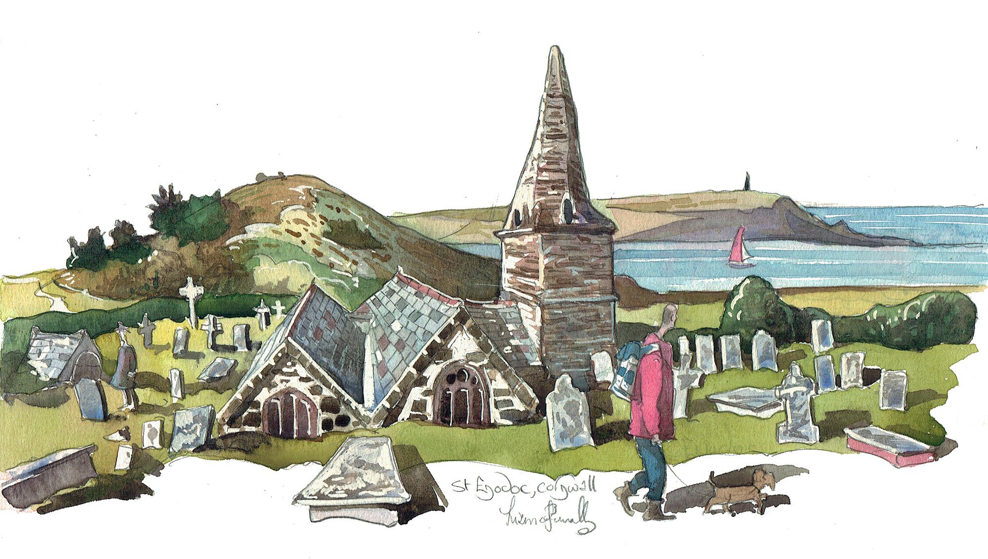 Painting of St Enodoc church Cornwall