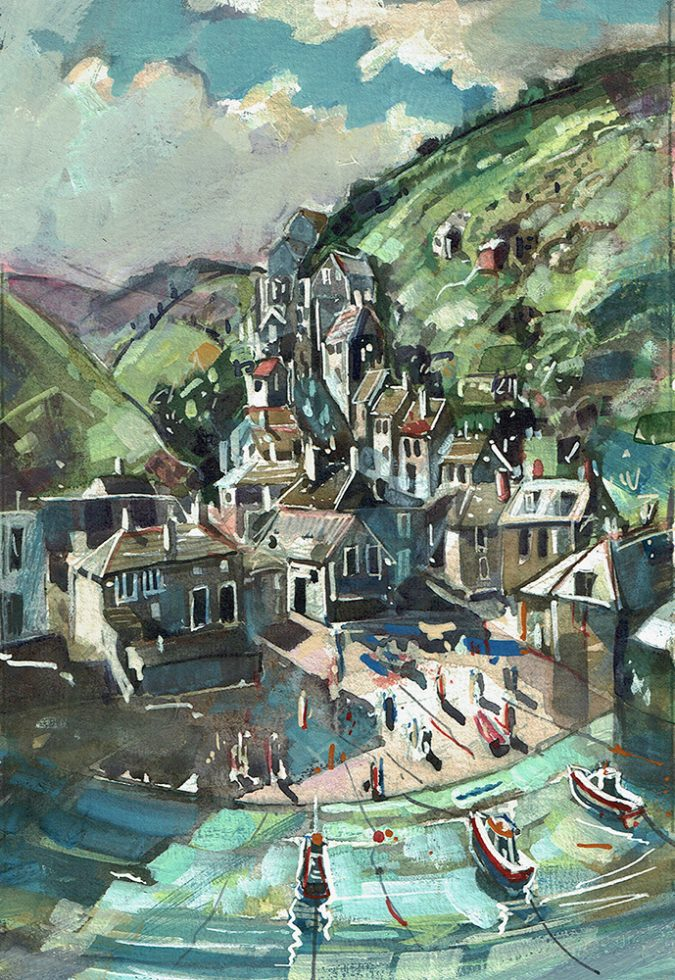 Port Isaac painting in watercolour