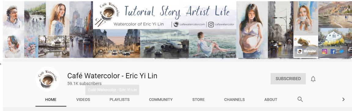 Eric Yi Lin the artist you tube page for drawing and painting