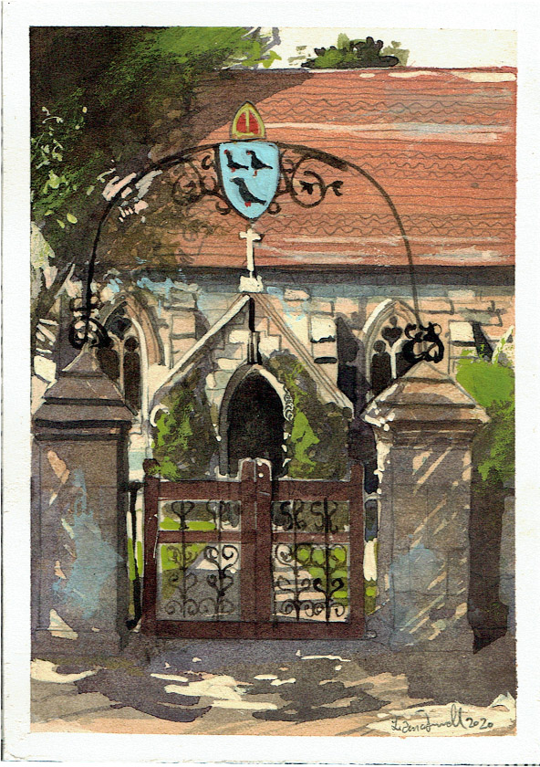 Painting of Pylle church gate Somerset