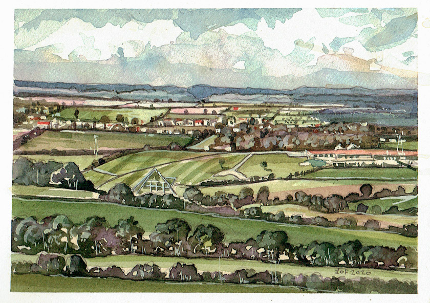Painting of a view to Pilton somerset