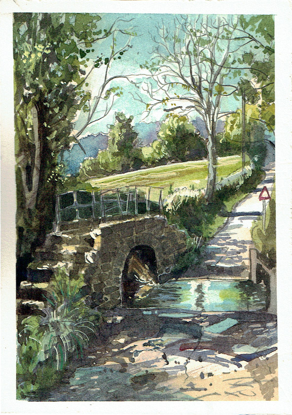 Painting of a bridge on Cockmill Lane in Pilton