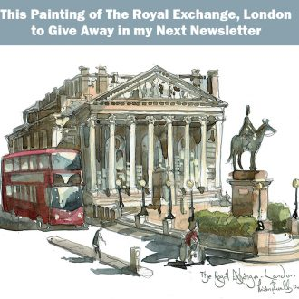 A painting of The Royal Exchange, London