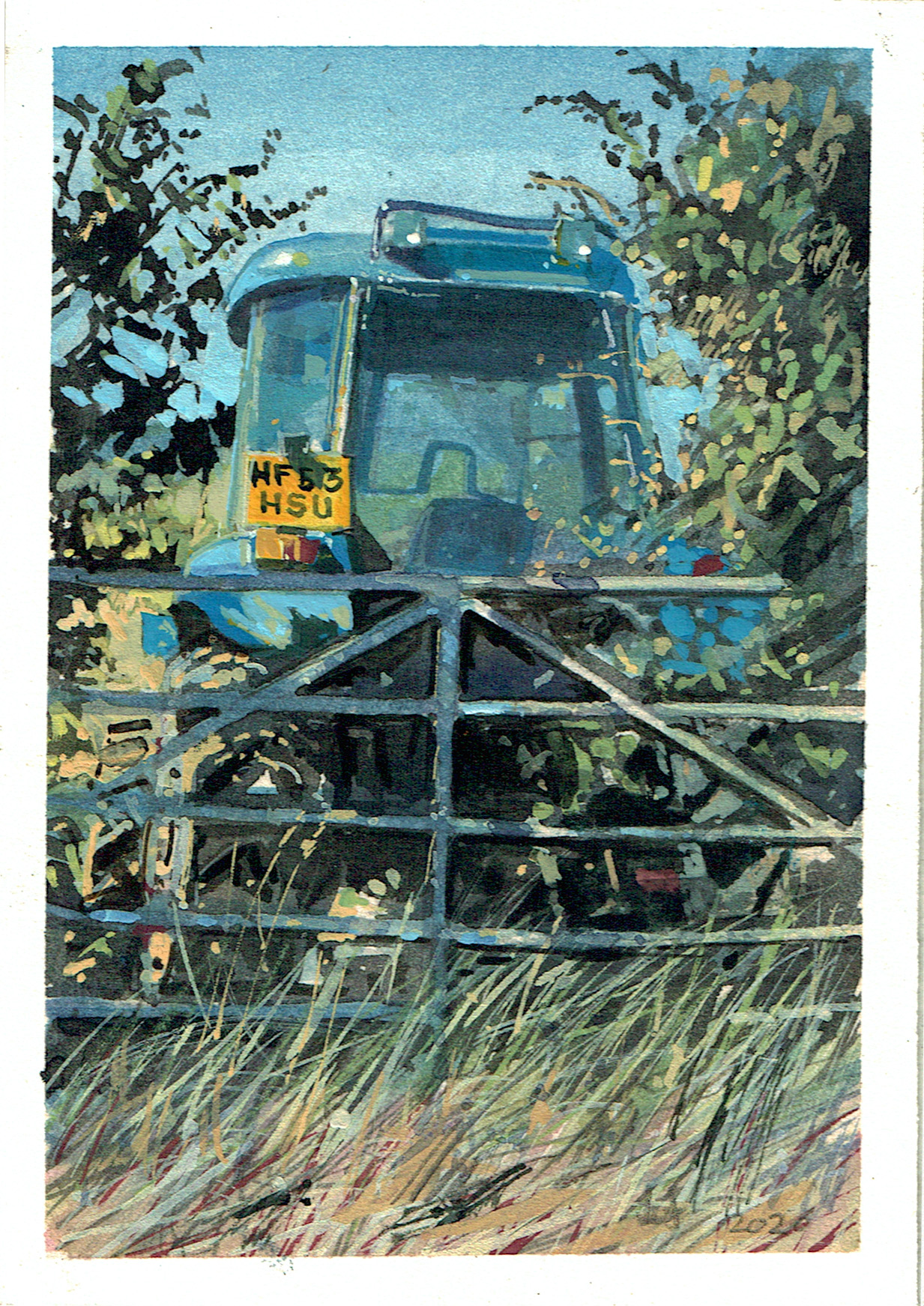 A painting of Tractor in Somerset