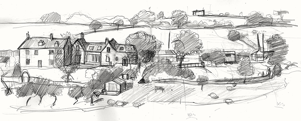 A drawing of Pilton Somerset
