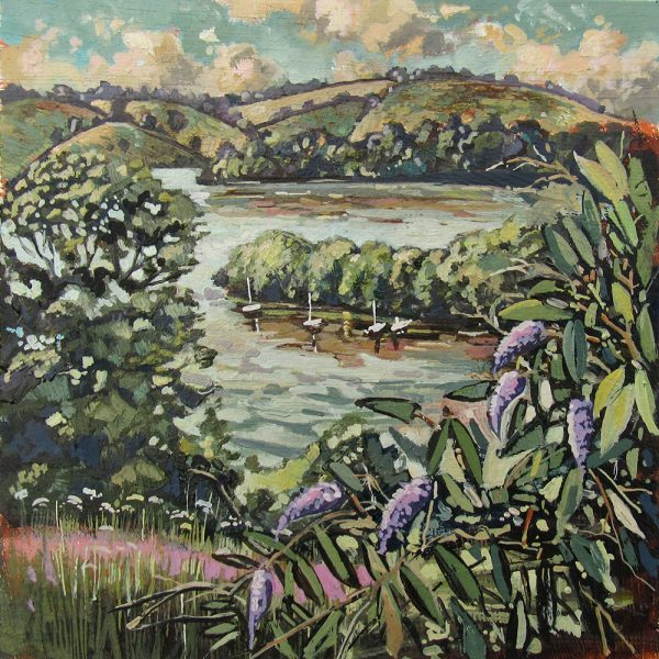 painting of A view Dittisham Devon