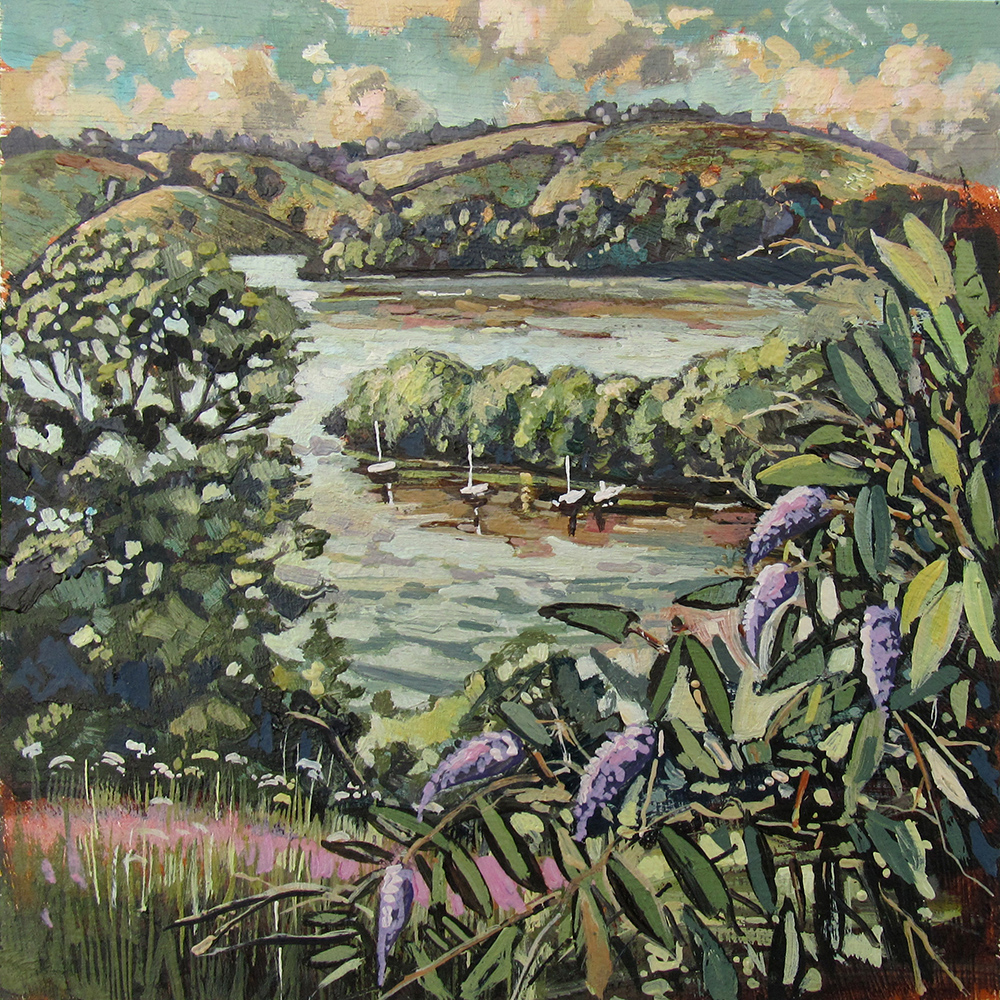 painting of A view Dittisham Devon