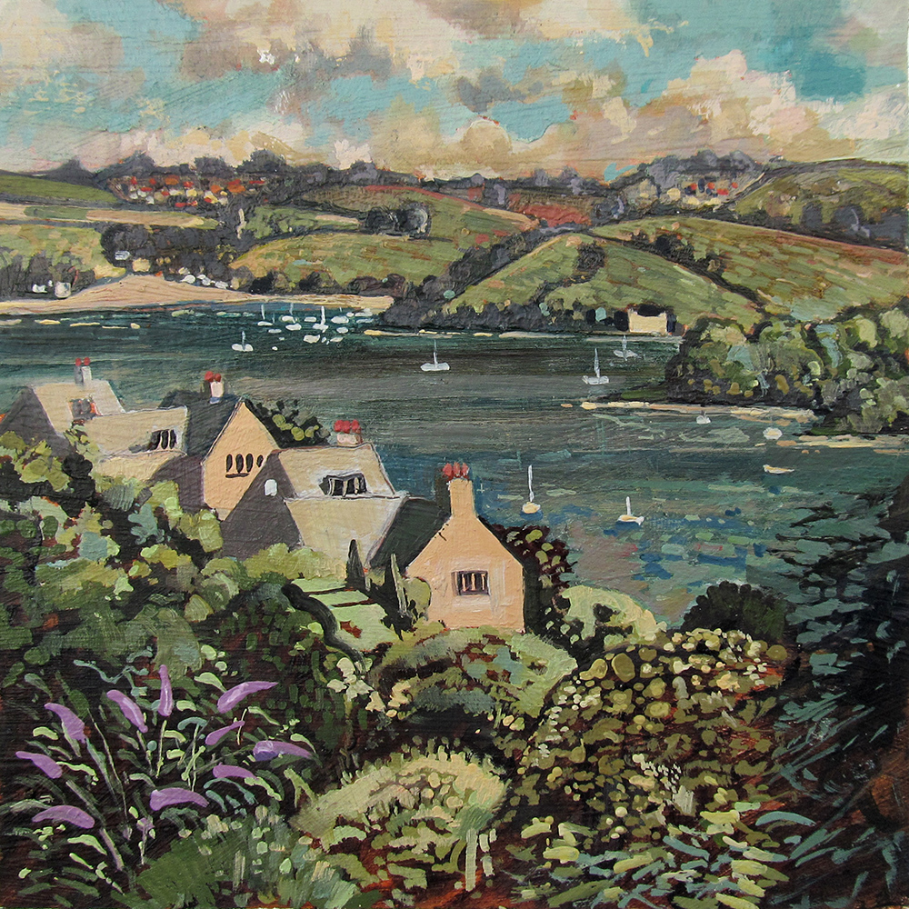 painting of A view of the RIver Dart from Dittisham Devon