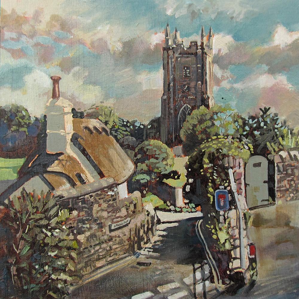 painting of St Georges Church Dittisham Devon