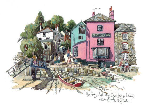 painting of The Ferry Boat Inn Dittisham Devon