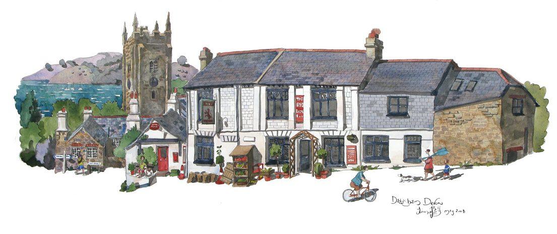painting of The Red Lion Inn Dittisham Devon