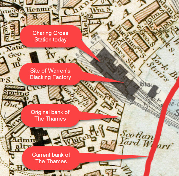 Warren's Blacking Factory of Charles Dickens map