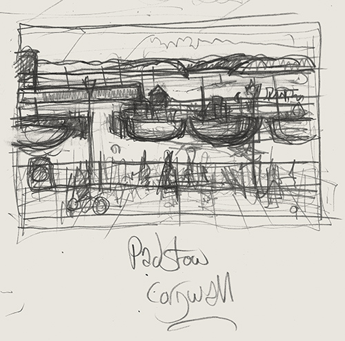 Initial drawing of Padstow in Cornwall