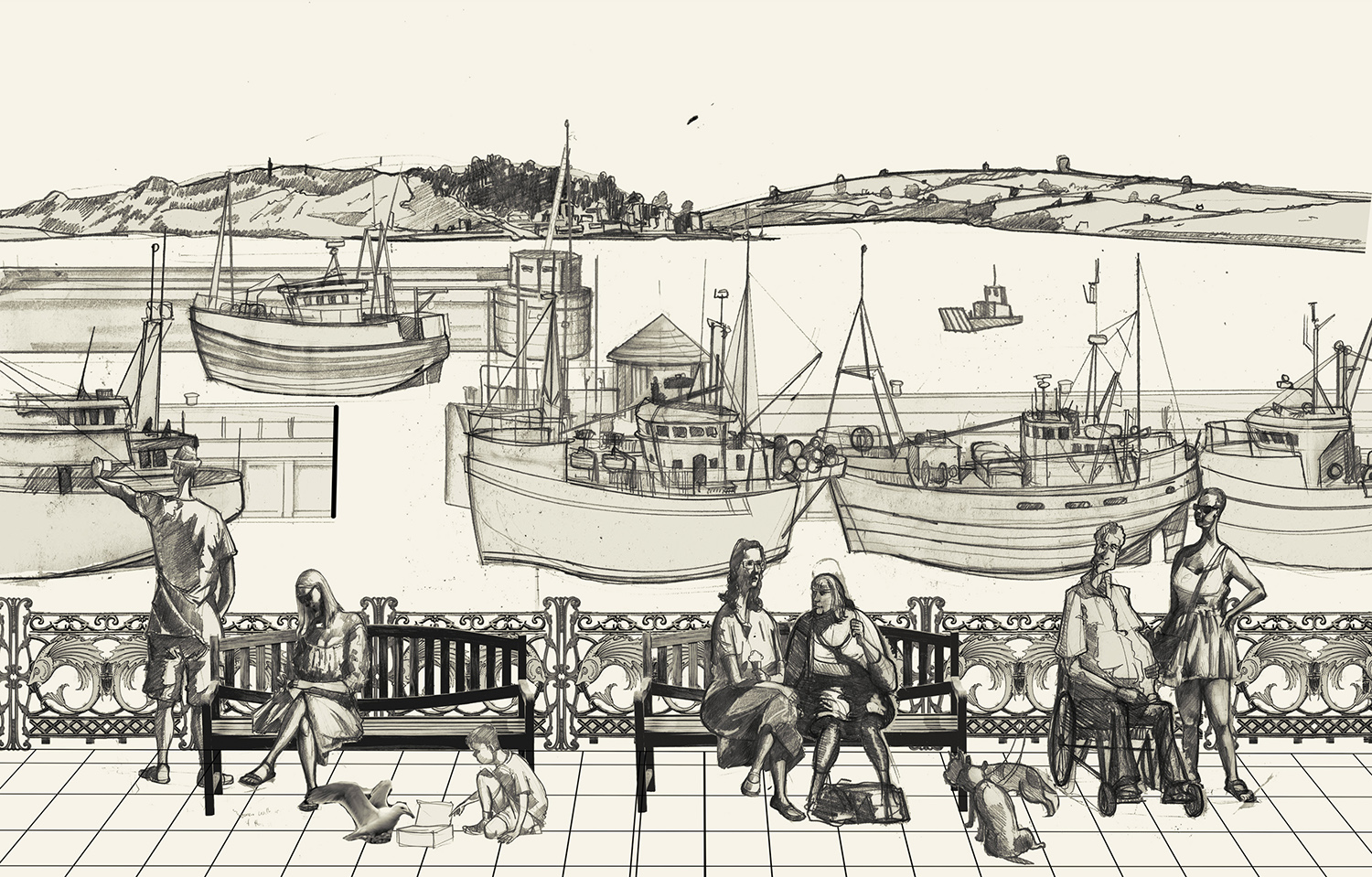 Padstow drawing in cornwall