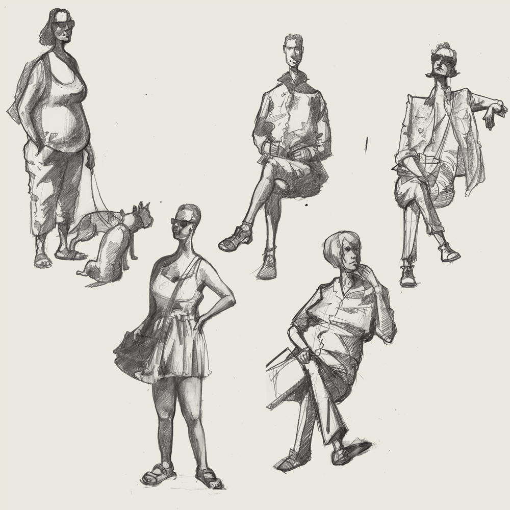A drawing of people in cornwall
