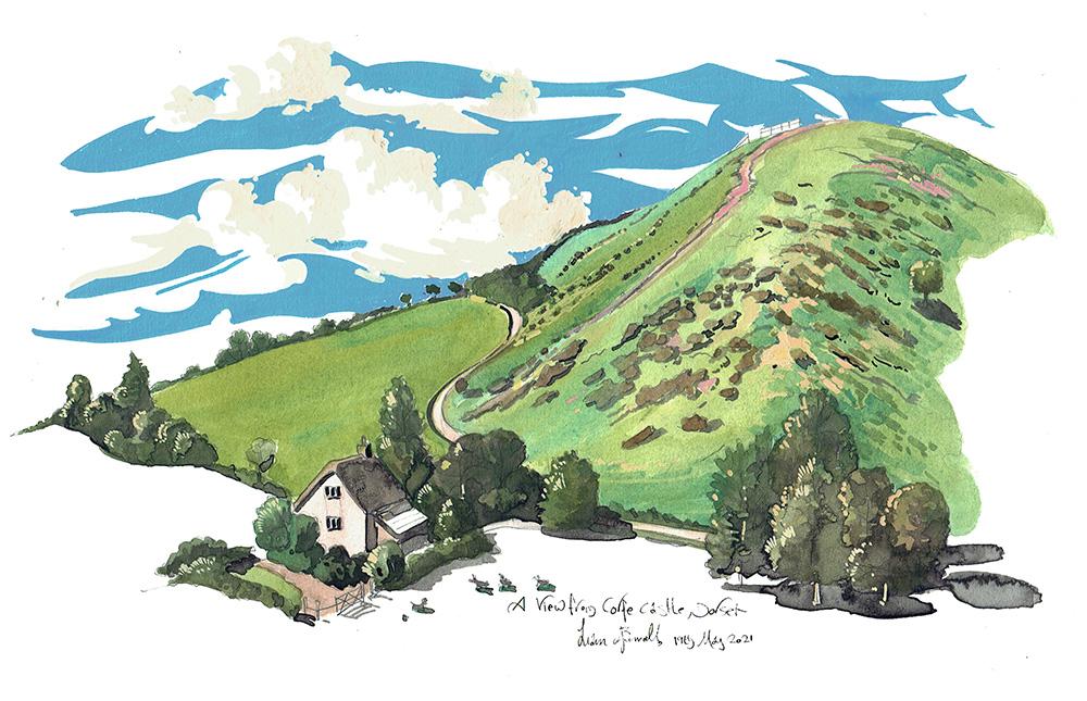 Corfe Castle Dorset showing Vineyard Farm