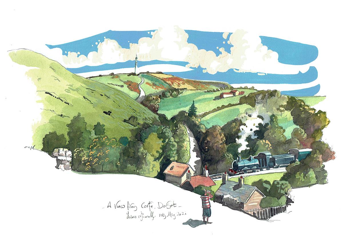 Corfe Castle Dorset showing steam train railway