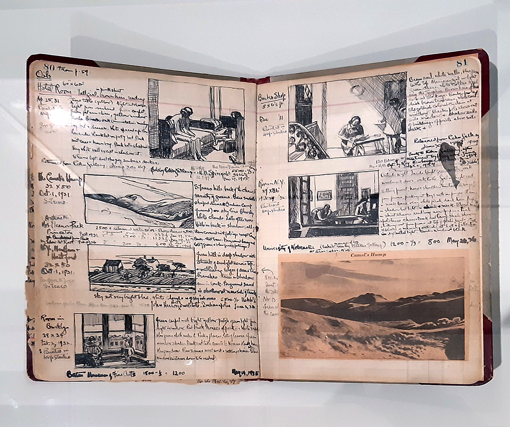 Edward hopper sketch book at the Whitney Museum