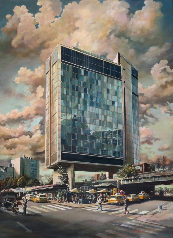 A painting of The Standard on the High Line in New York City