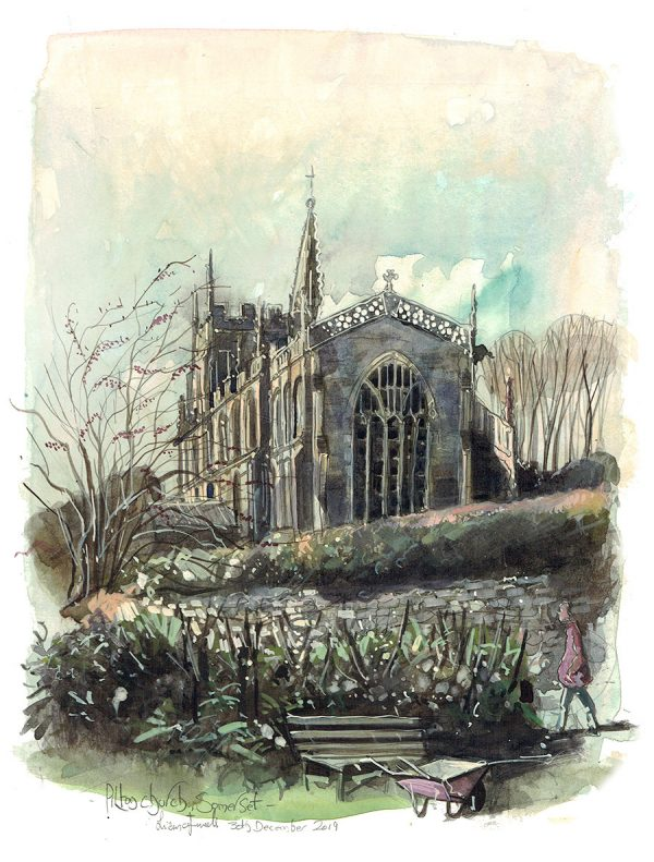 A painting of The Church of St John the Baptist in Pilton, Somerset